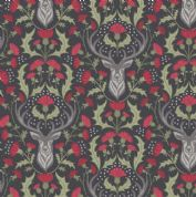 Lewis & Irene - Celtic Reflections - 5931 - Stags on Black Metallic Silver - A335.3 - Cotton Fabric